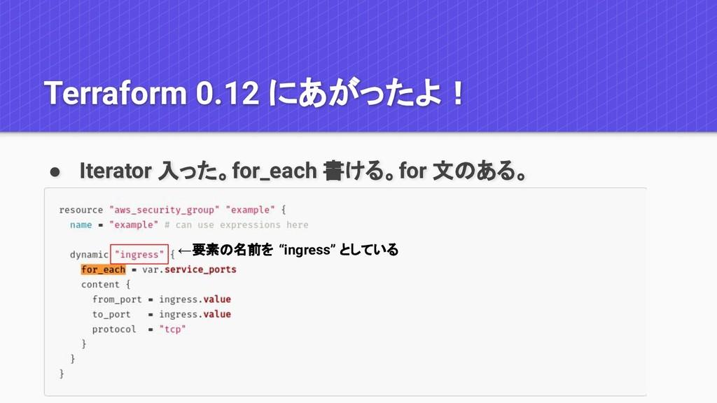 Terraform 0.12 にあがったよ! ● Iterator 入った。for_each ...