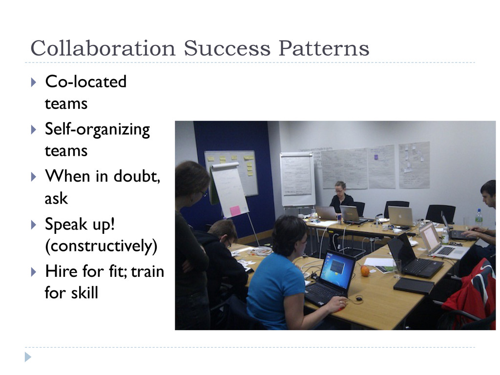 Collaboration Success Patterns } Co-located t...