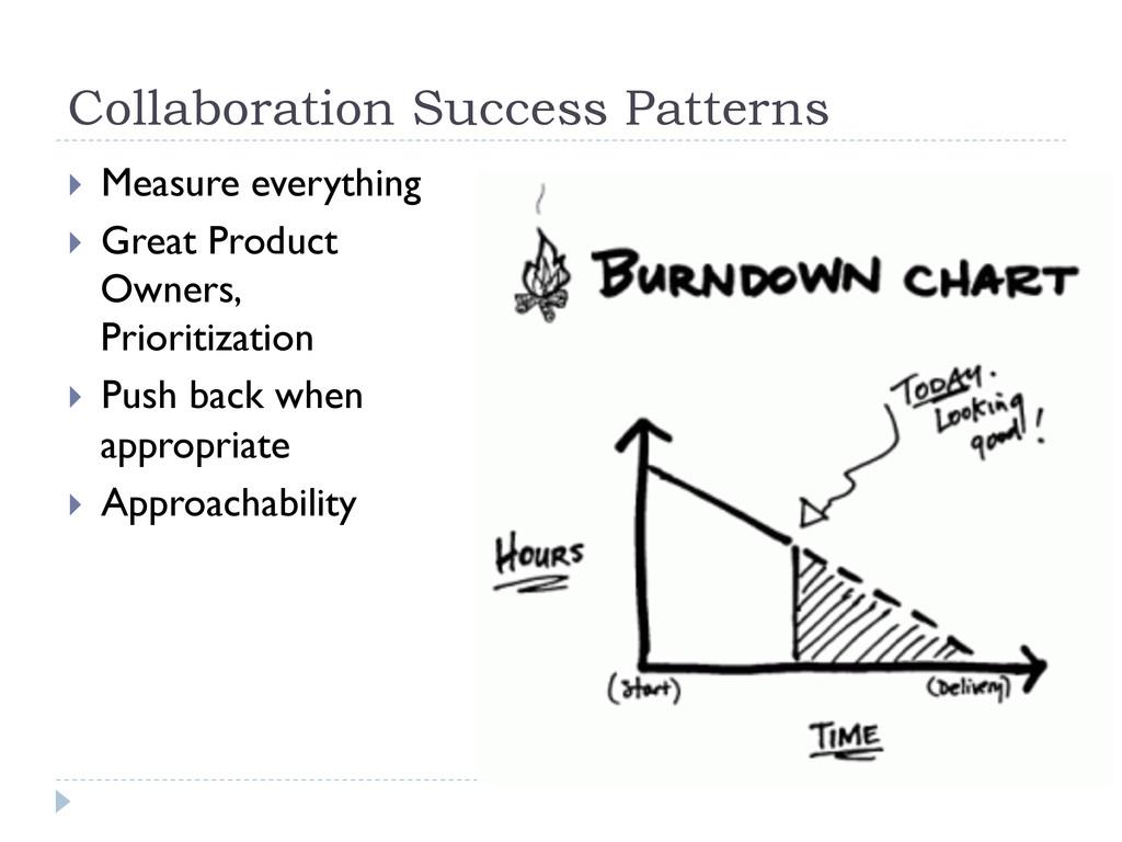 Collaboration Success Patterns } Measure ever...