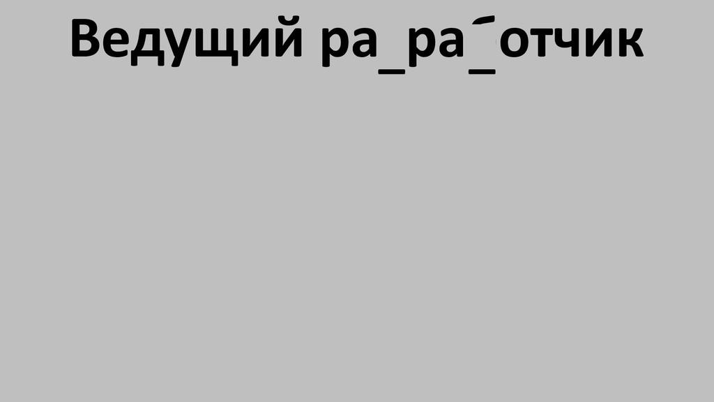 Ведущий разработчик _ _