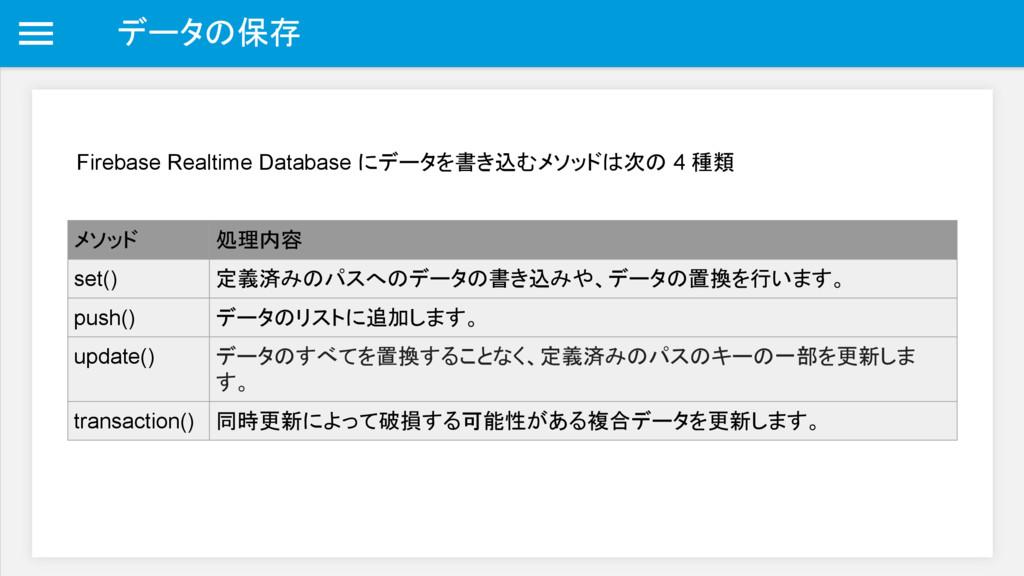 データの保存 Firebase Realtime Database にデータを書き込むメソッド...