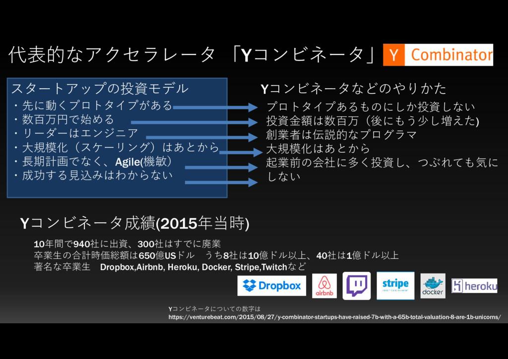 代表的なアクセラレータ 「Yコンビネータ」 ・先に動くプロトタイプがある ・数百万円で始める ...