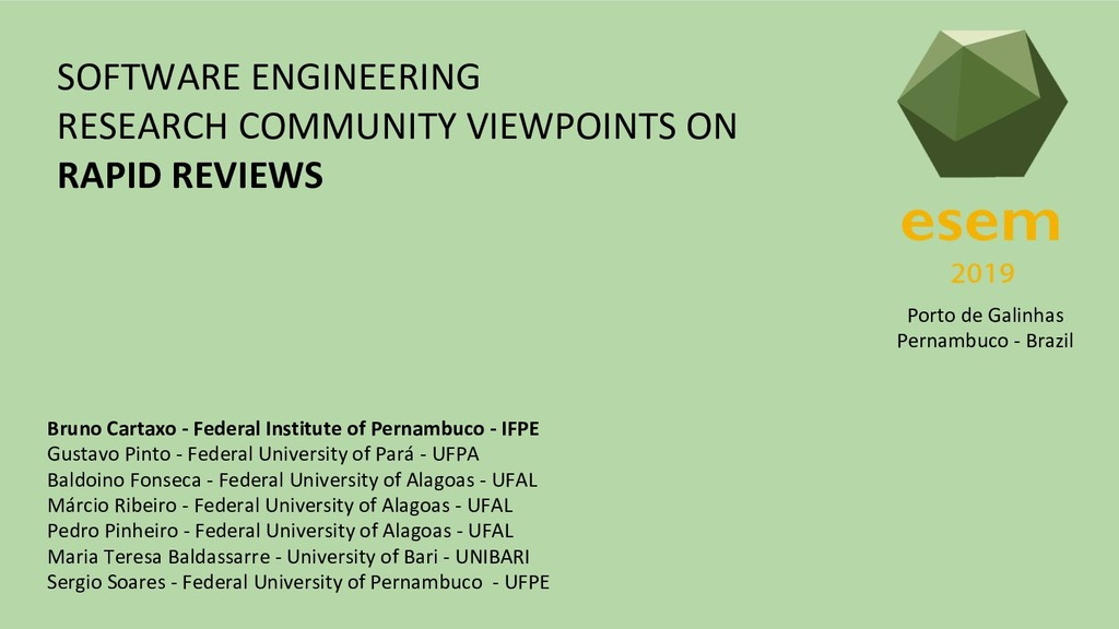 SOFTWARE ENGINEERING RESEARCH COMMUNITY VIEWPOI...