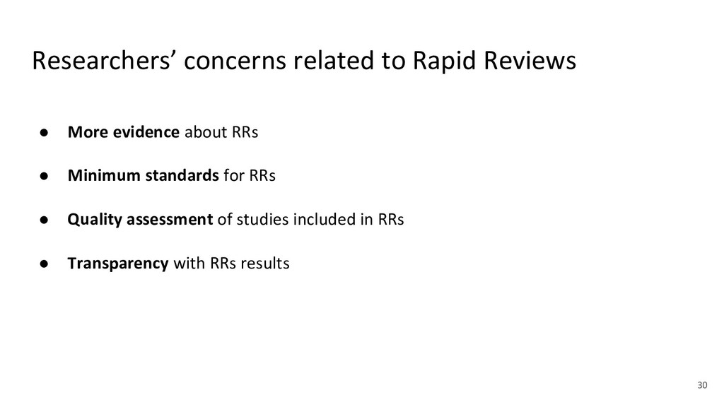 Researchers' concerns related to Rapid Reviews ...