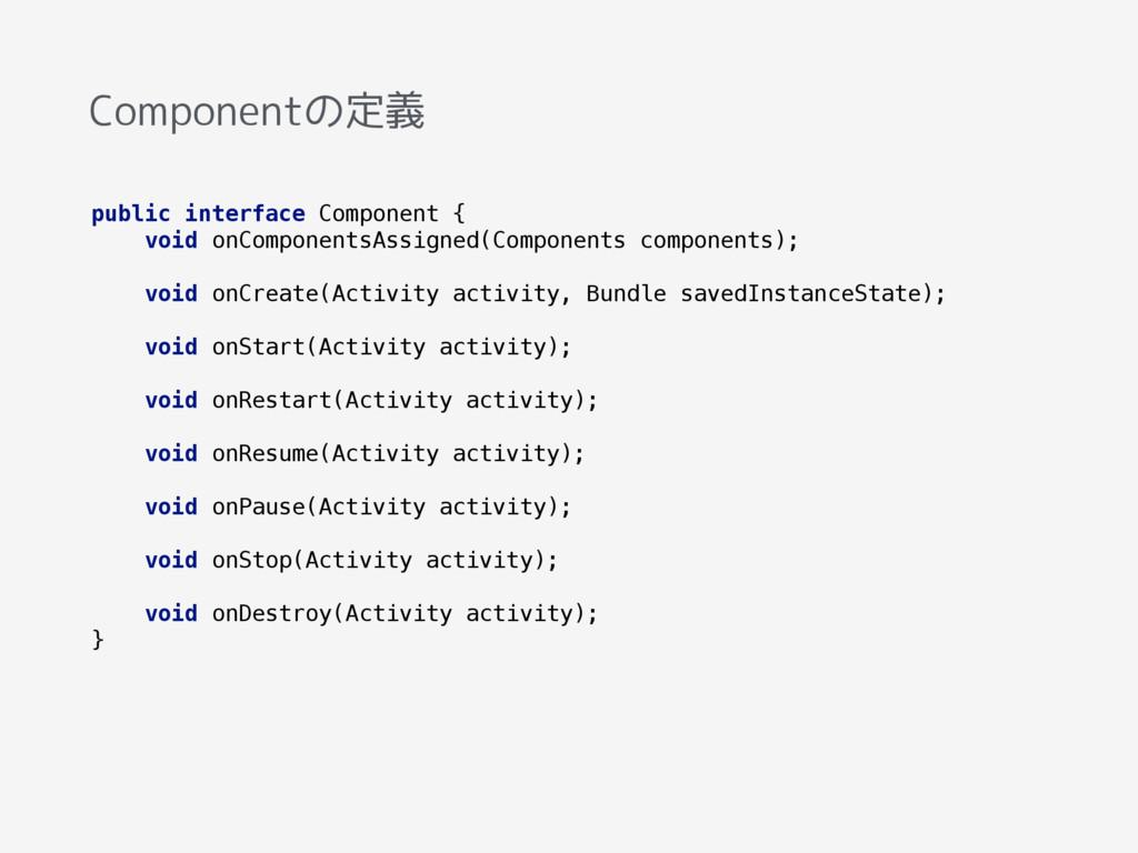 Componentの定義 public interface Component { void...