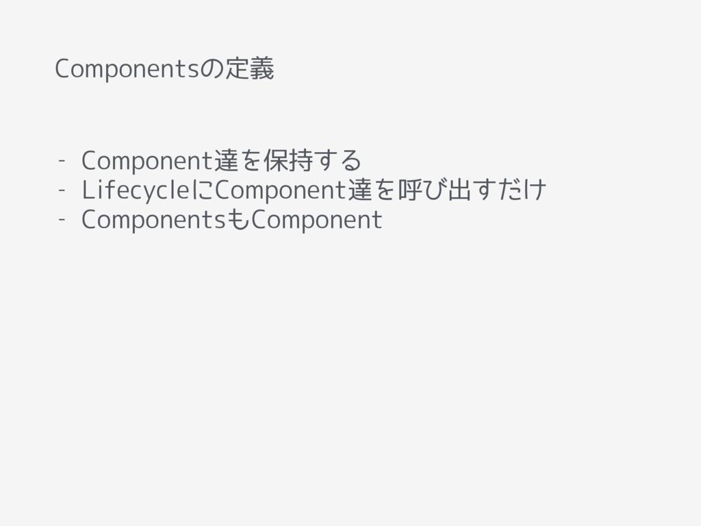 Componentsの定義 - Component達を保持する - LifecycleにCom...