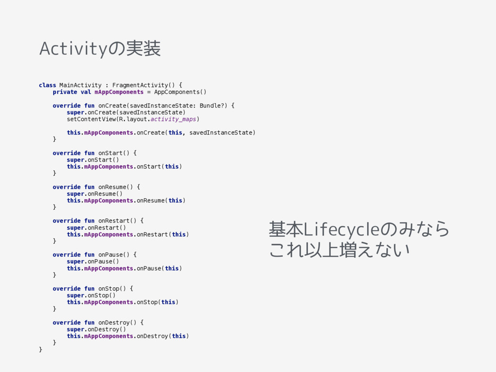 Activityの実装 class MainActivity : FragmentActivi...