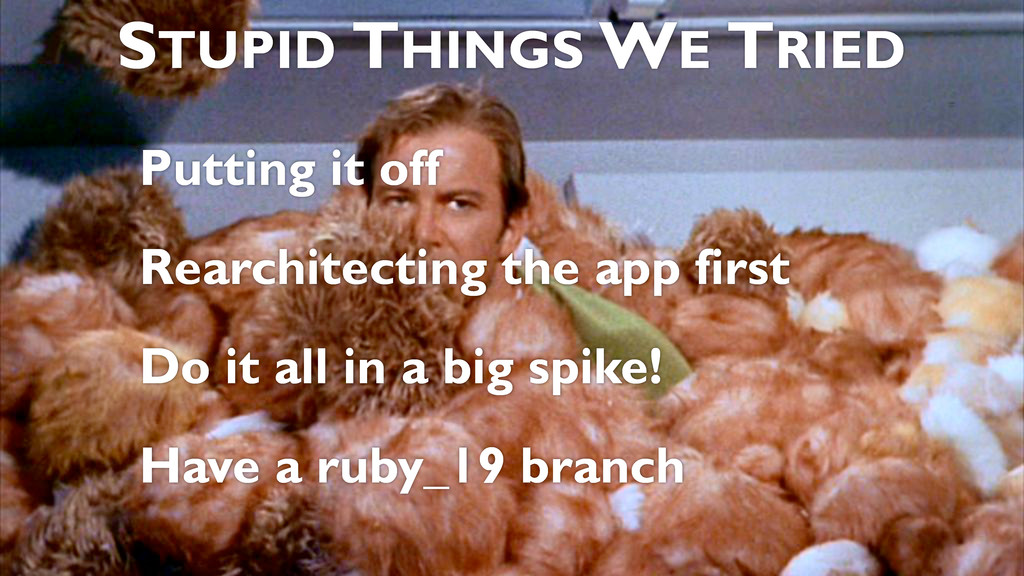 Putting it off Rearchitecting the app first Do ...