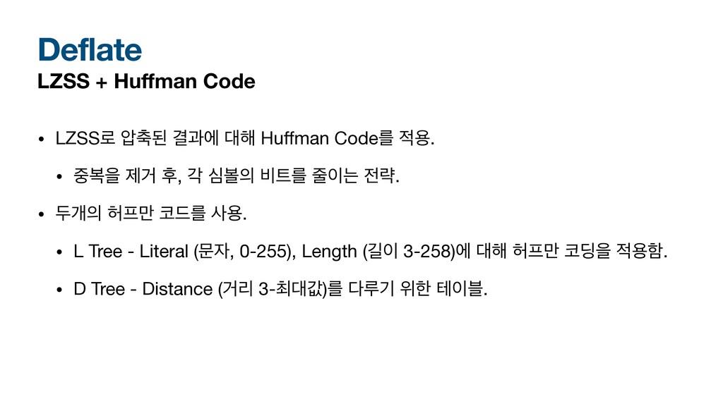 Deflate LZSS + Huffman Code • LZSS۽ ୷ػ Ѿҗী ೧ H...