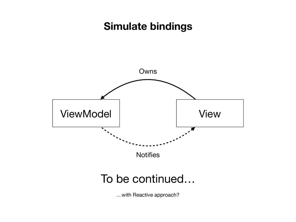 Simulate bindings View ViewModel Owns Notifies T...