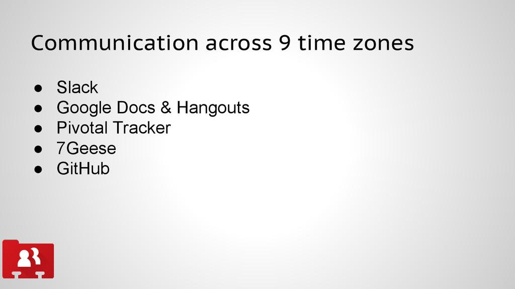 Communication across 9 time zones ● Slack ● Goo...