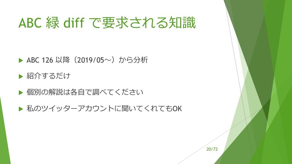 /72 ABC 緑 diff で要求される知識 u ABC 126 以降(2019/05〜)か...