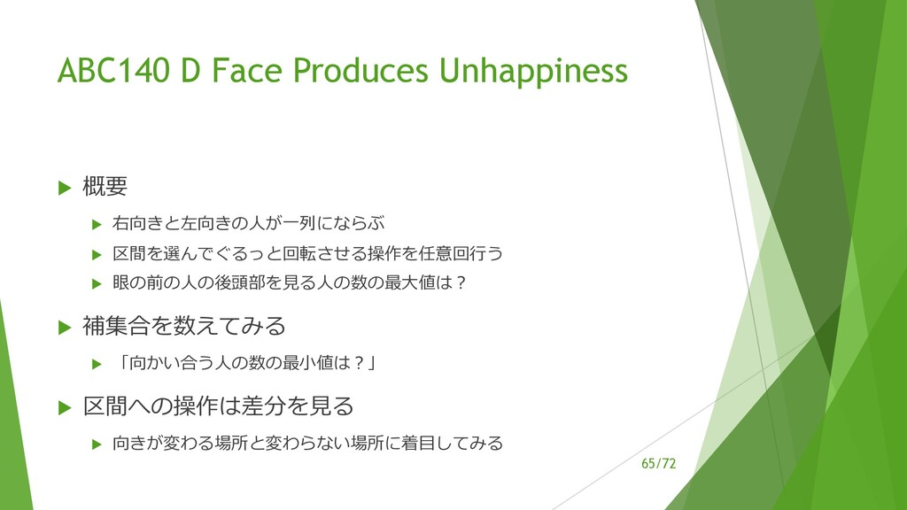 /72 ABC140 D Face Produces Unhappiness u 概要 u 右...