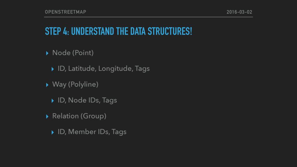 OPENSTREETMAP STEP 4: UNDERSTAND THE DATA STRUC...