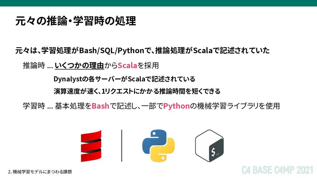 元々は、学習処理がBash/SQL/Pythonで、推論処理がScalaで記述されていた 推論...