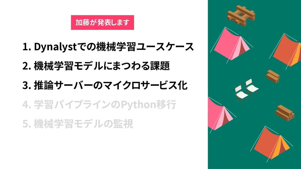 1. Dynalystでの機械学習ユースケース 2. 機械学習モデルにまつわる課題 3. 推論...