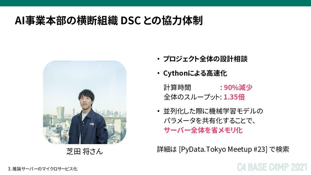 AI事業本部の横断組織 DSC との協力体制 芝田 将さん ・ プロジェクト全体の設計相談 ・...