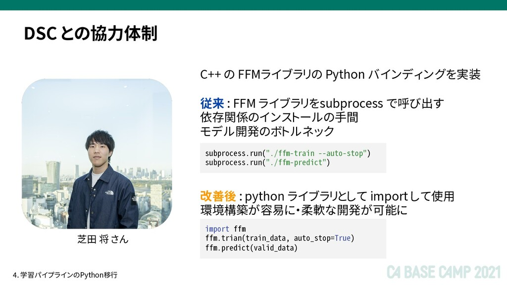 DSC との協力体制 芝田 将 さん C++ の FFMライブラリの Python バインディ...
