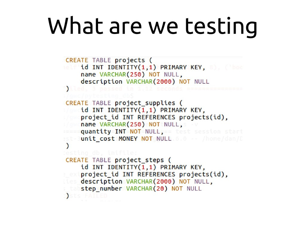 What are we testing
