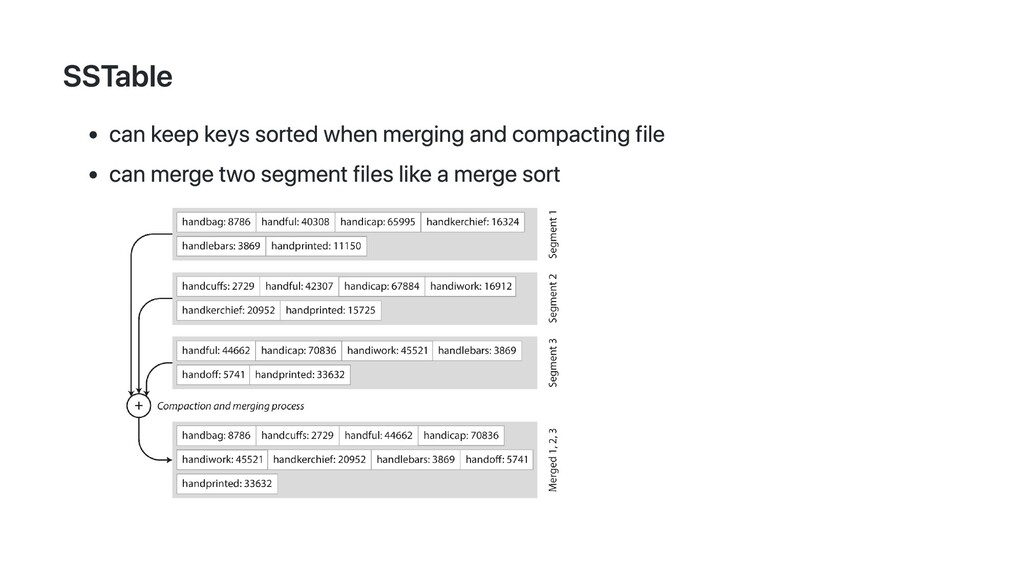 SSTable can keep keys sorted when merging and c...
