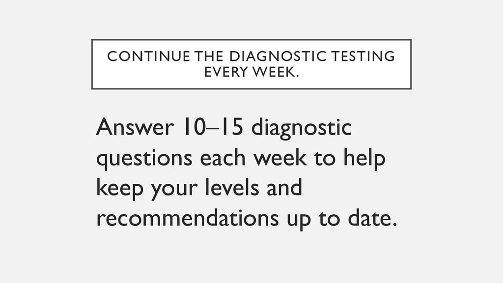 CONTINUE THE DIAGNOSTIC TESTING EVERY WEEK. Ans...