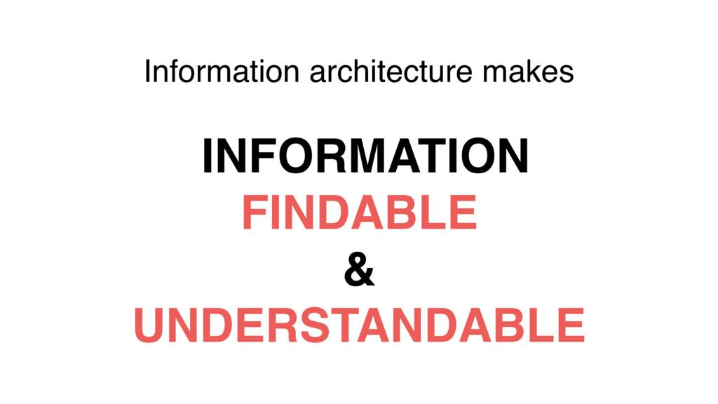 Information architecture makes INFORMATION FIND...