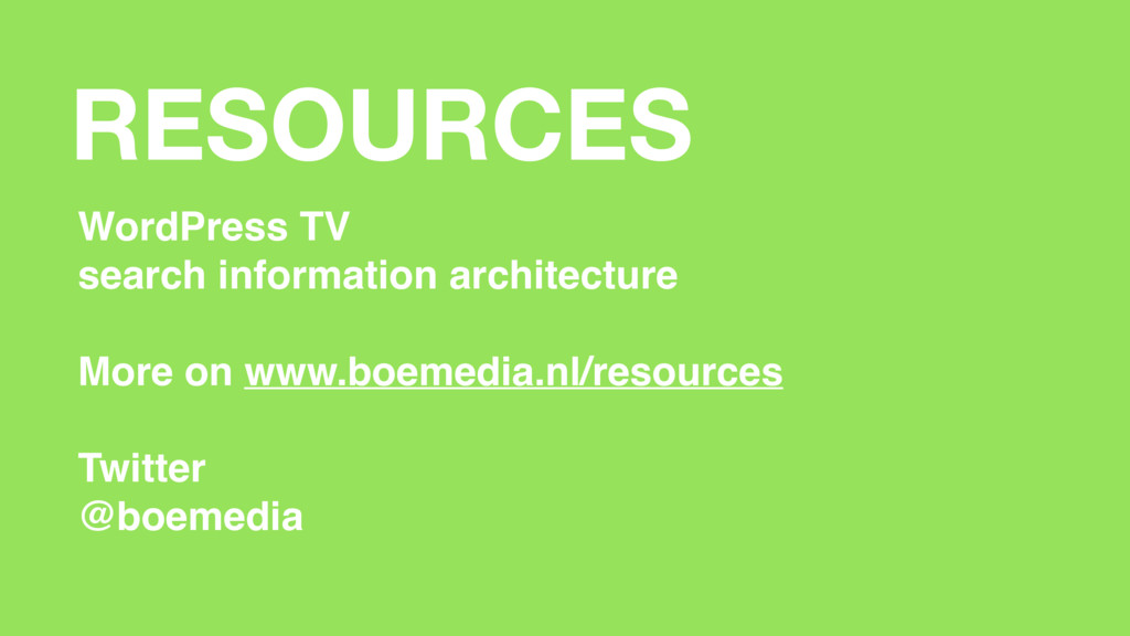 RESOURCES WordPress TV search information archi...