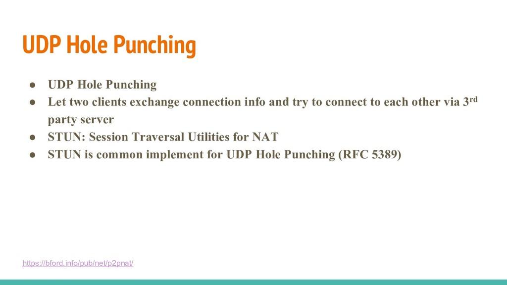 UDP Hole Punching ● UDP Hole Punching ● Let two...
