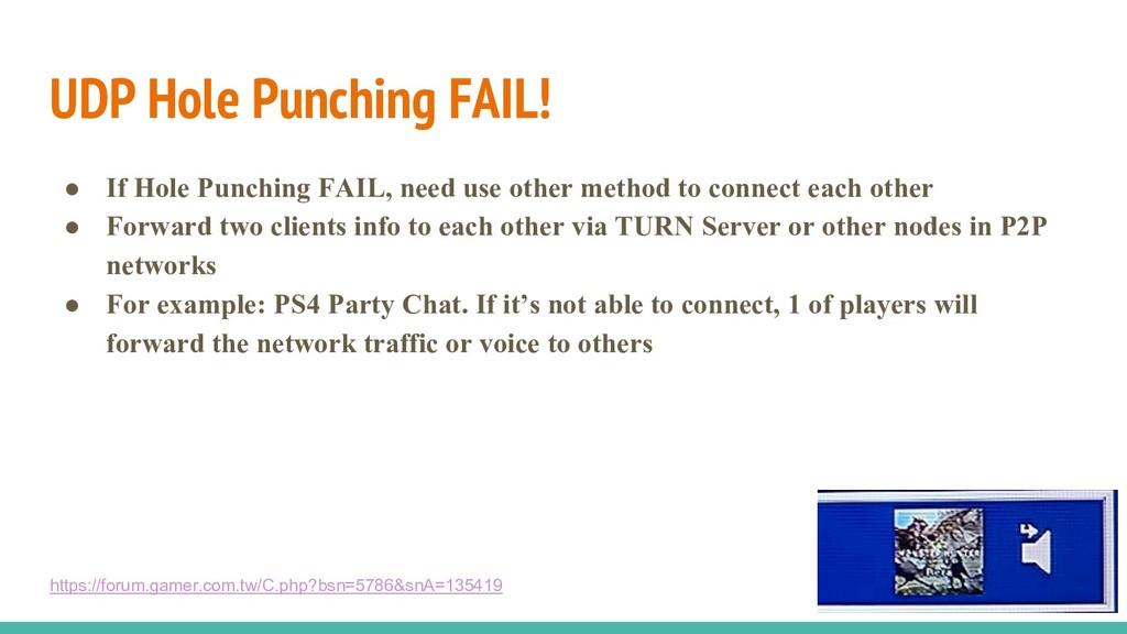 UDP Hole Punching FAIL! ● If Hole Punching FAIL...