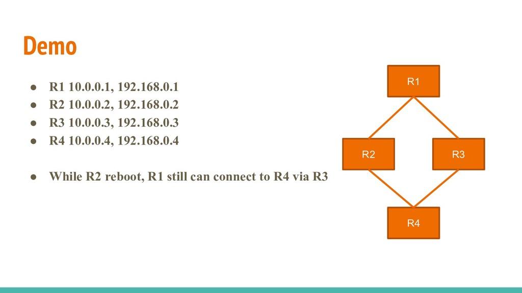 Demo ● R1 10.0.0.1, 192.168.0.1 ● R2 10.0.0.2, ...