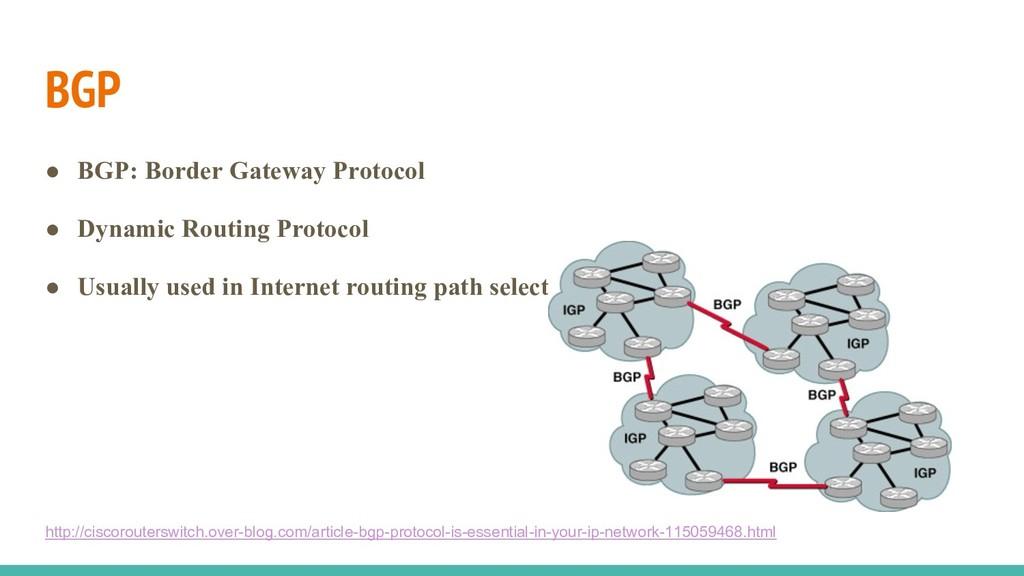 BGP ● BGP: Border Gateway Protocol ● Dynamic Ro...
