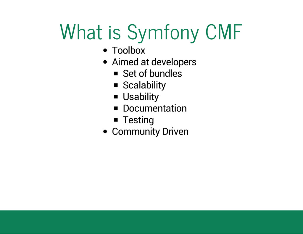 What is Symfony CMF Toolbox Aimed at developers...