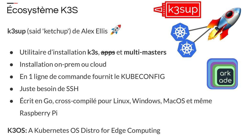 Écosystème K3S k3sup (said 'ketchup') de Alex E...