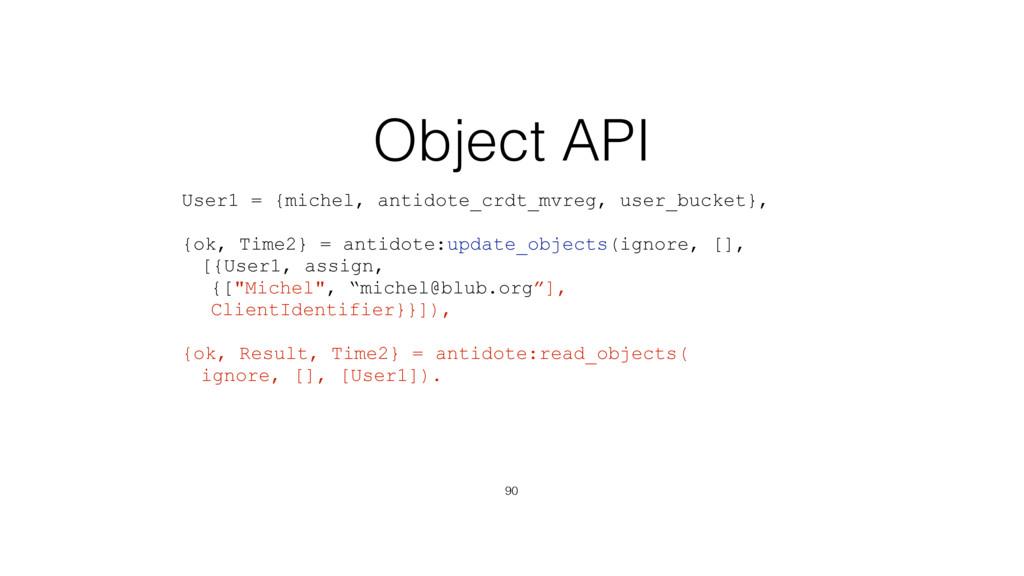 Object API 90 User1 = {michel, antidote_crdt_mv...