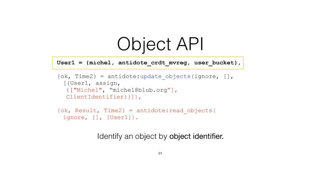 Object API 91 User1 = {michel, antidote_crdt_mv...