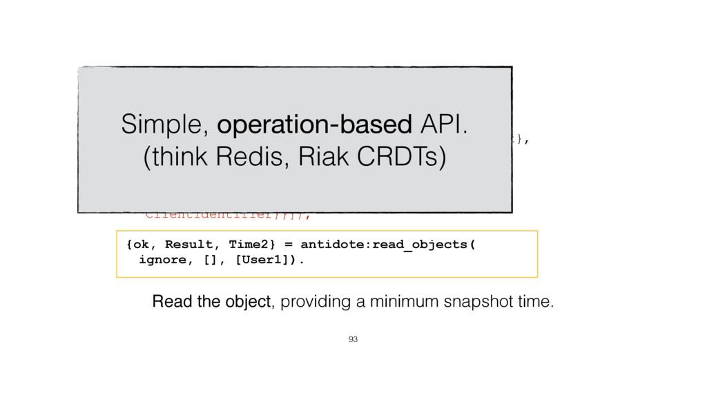 Object API 93 User1 = {michel, antidote_crdt_mv...