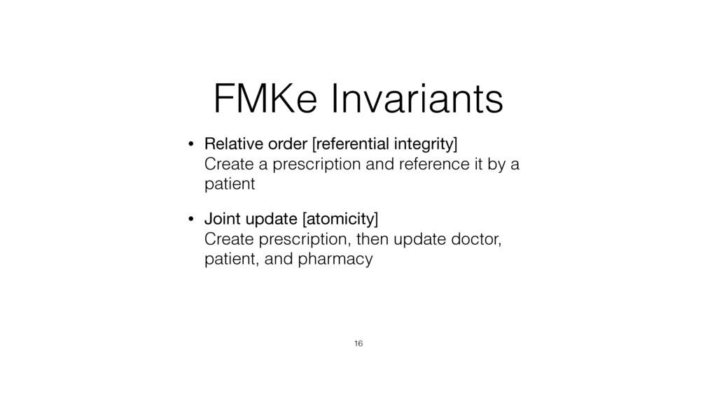 FMKe Invariants • Relative order [referential i...