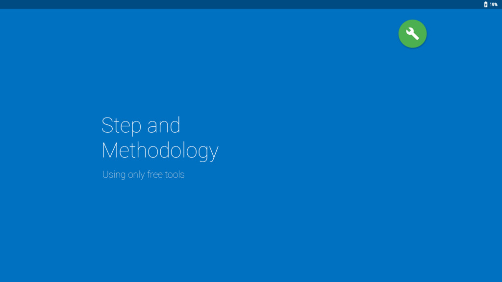 Step and Methodology Using only free tools 19%