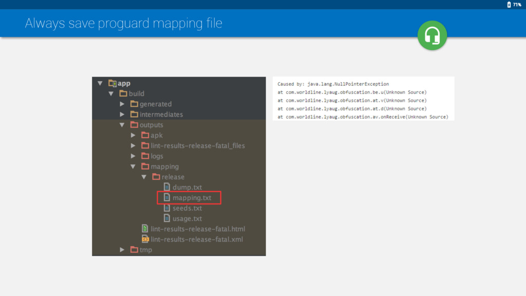 71% Always save proguard mapping file