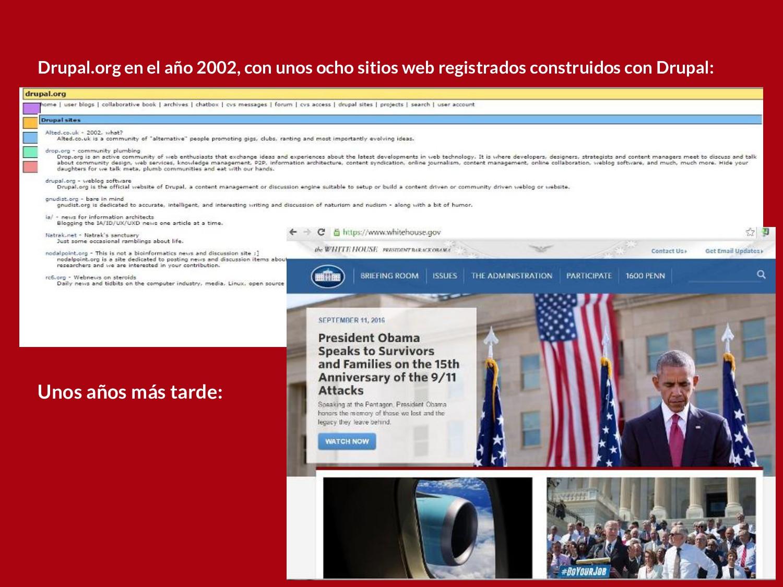 Drupal.org en el año 2002, con unos ocho sitios...