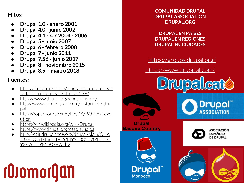 Hitos: ● Drupal 1.0 - enero 2001 ● Drupal 4.0 -...