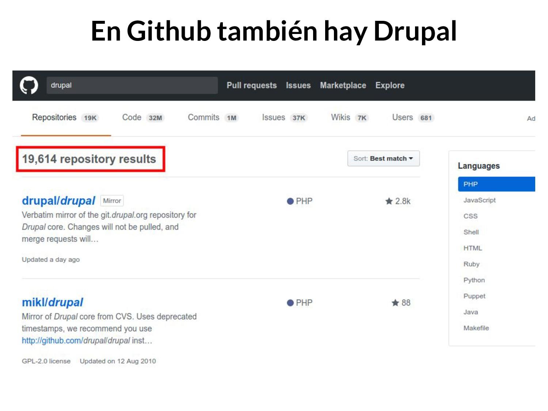 En Github también hay Drupal