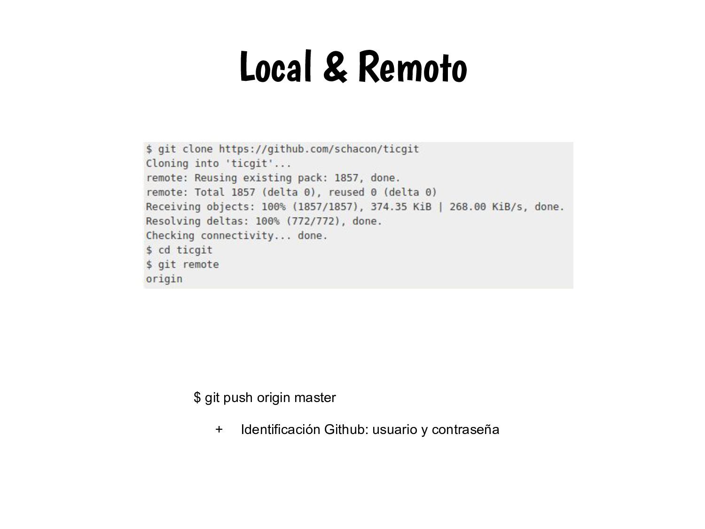 Local & Remoto $ git push origin master + Ident...