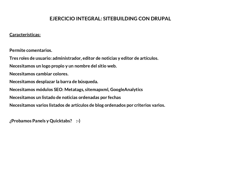 EJERCICIO INTEGRAL: SITEBUILDING CON DRUPAL Car...