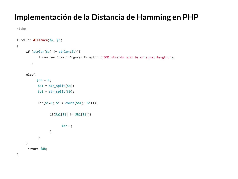 Implementación de la Distancia de Hamming en PH...