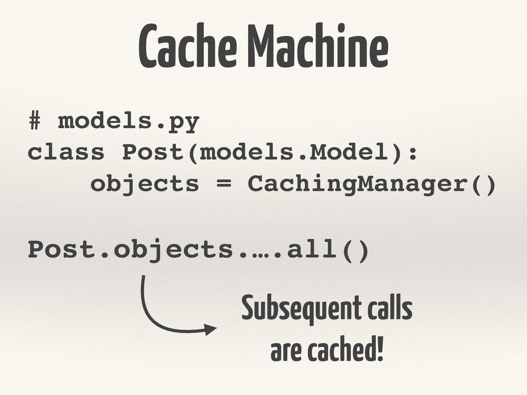 Cache Machine # models.py! class Post(models.Mo...