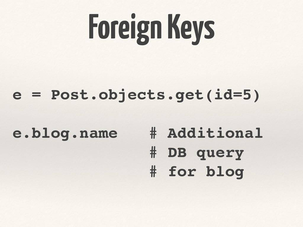 Foreign Keys e = Post.objects.get(id=5)! ! e.bl...