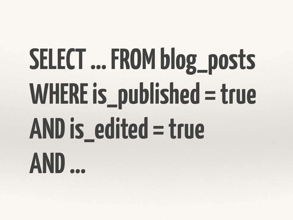 SELECT … FROM blog_posts WHERE is_published = t...