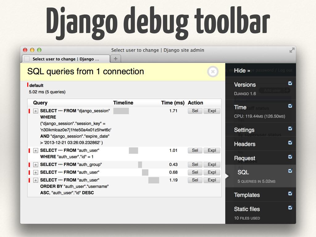 Django debug toolbar
