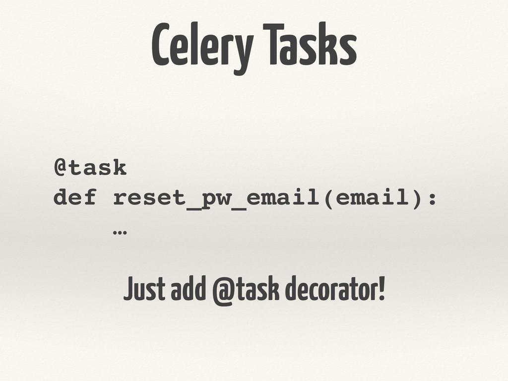 Celery Tasks @task! def reset_pw_email(email):!...